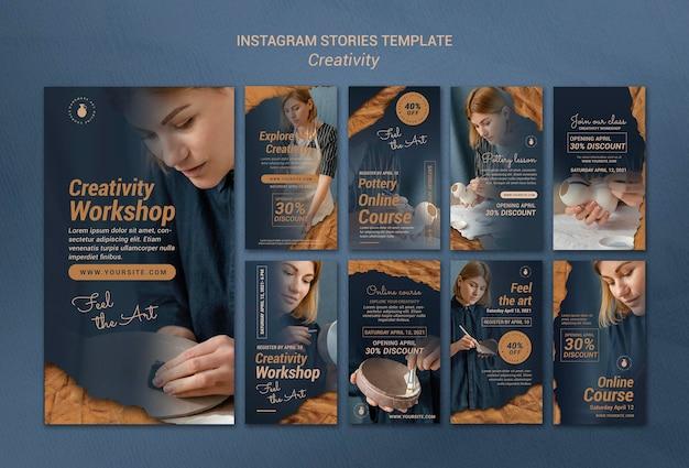 女性との創造的な陶器ワークショップのためのinstagramストーリーコレクション