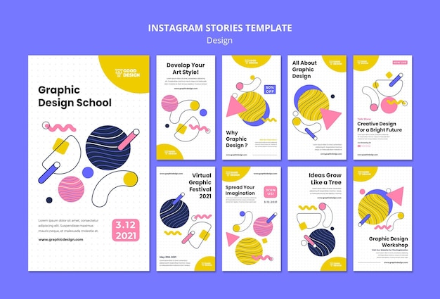 Коллекция историй из инстаграм для графического дизайна