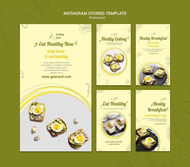 Коллекция историй из инстаграм для здорового завтрака с бутербродами