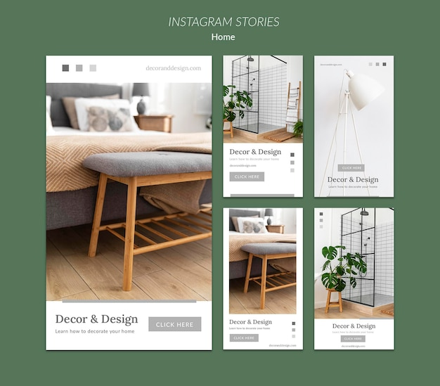 Коллекция историй из инстаграм для домашнего декора и дизайна