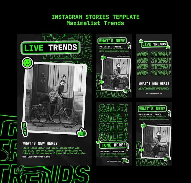 Сборник историй из инстаграм для максималистского тренда