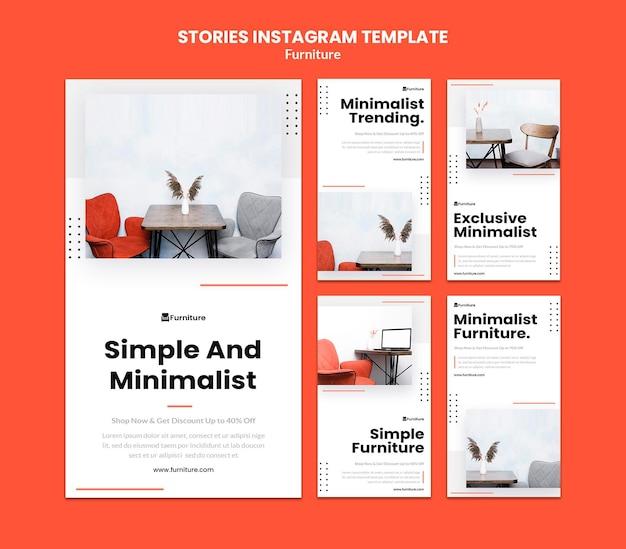미니멀 한 가구 디자인을위한 Instagram 스토리 모음 프리미엄 PSD 파일