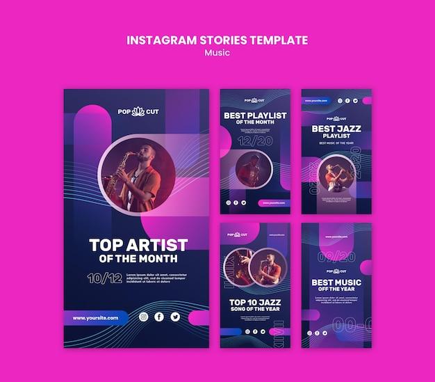 Коллекция историй из instagram для музыки с джазовым музыкантом и саксофоном