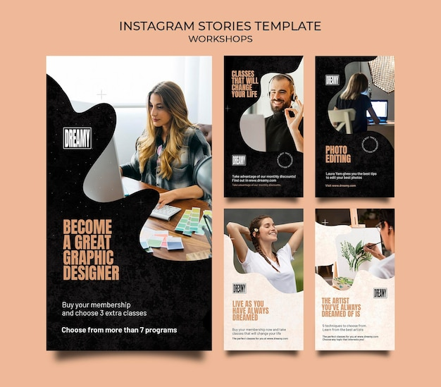 職業ワークショップやクラスのためのinstagramストーリーコレクション