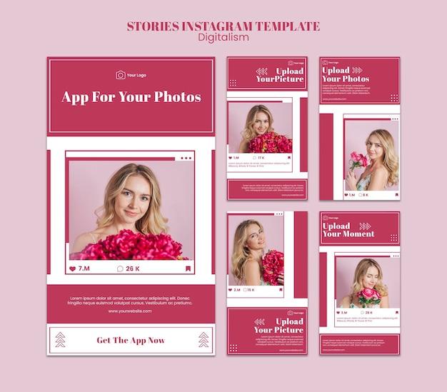 ソーシャルメディアの写真をアップロードするためのinstagramストーリーコレクション