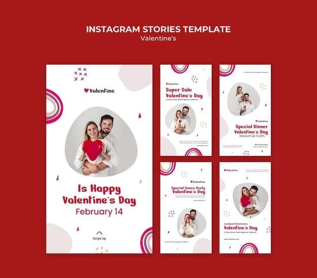 Коллекция историй из инстаграм на день святого валентина с парой