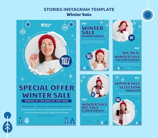 冬のセールのためのinstagramストーリーコレクション