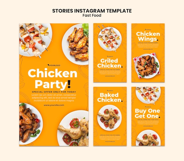 Instagram stories collection for fried chicken dish
