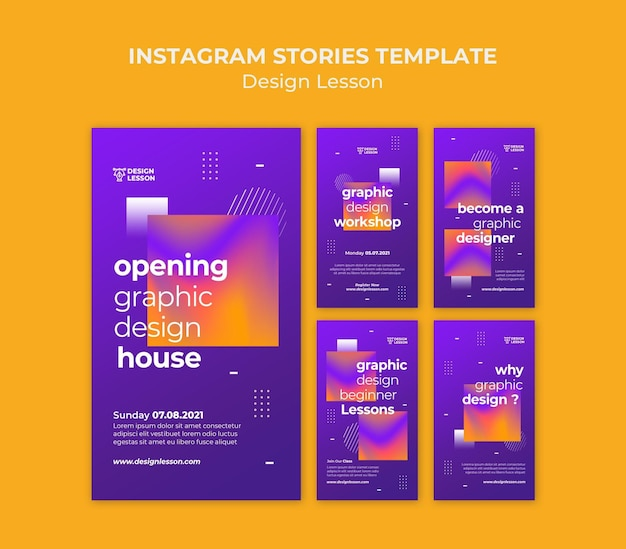 Instagram stories collection for graphic design lessons