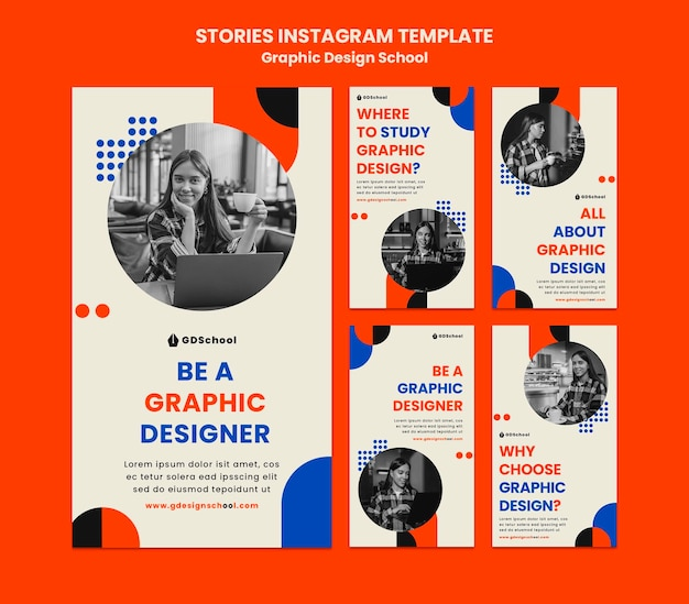 Instagram stories collection for graphic design school