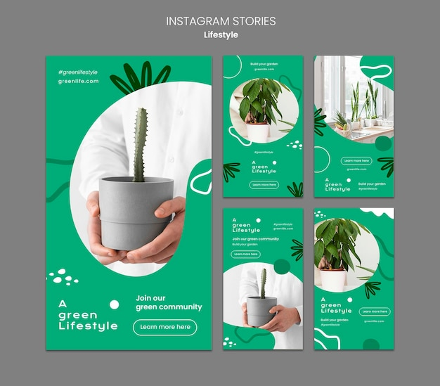 Instagram stories collection for green lifestyle with plant