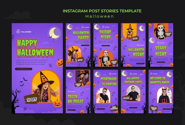 Instagram stories collection for halloween with kid in costume