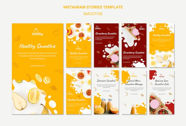 Instagram stories collection for healthy fruit smoothies