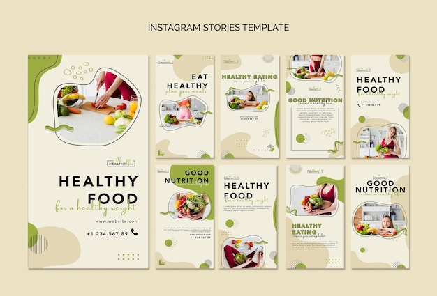 Instagram stories collection for healthy nutrition