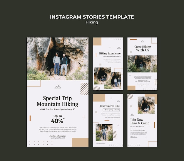 Instagram stories collection for hiking in nature