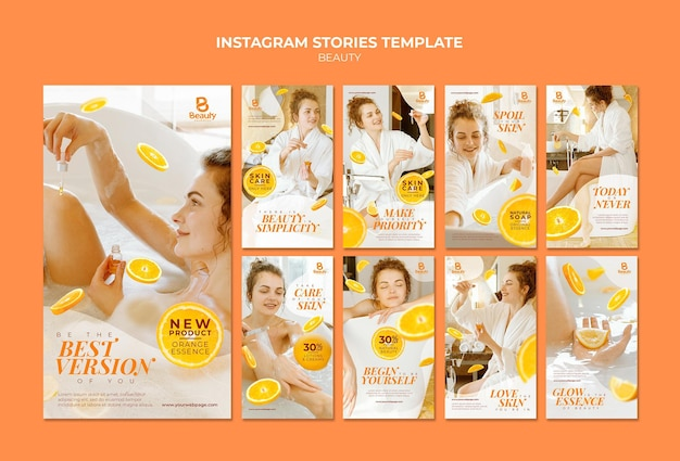 Instagram stories collection for home spa skincare with woman and orange slices