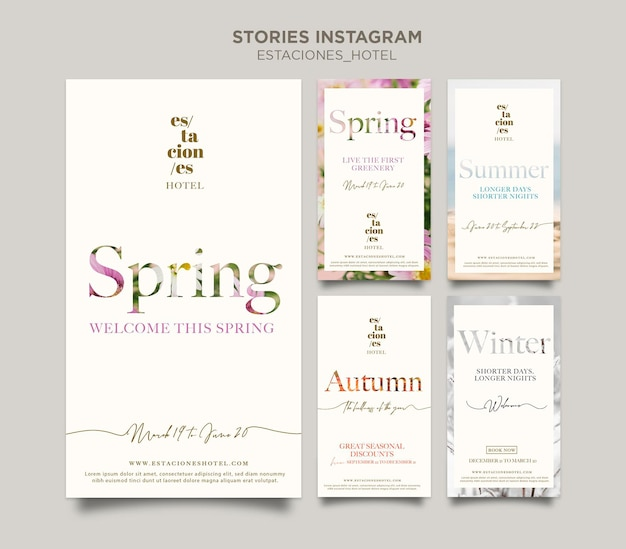 Raccolta di storie di instagram per attività alberghiere