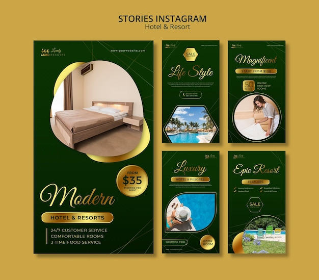 Instagram stories collection for hotel and resort