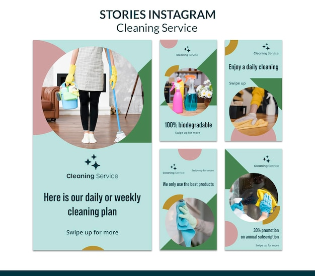 Instagram stories collection for house cleaning company