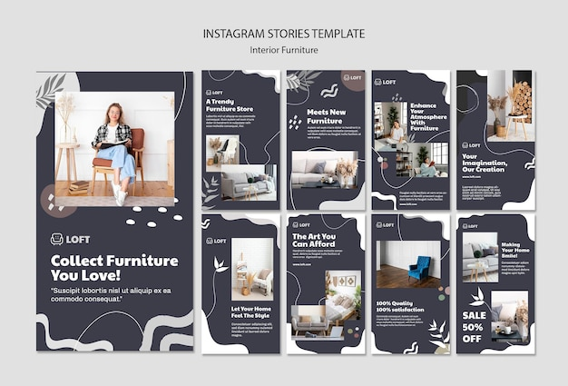 Instagram stories collection for interior design furniture