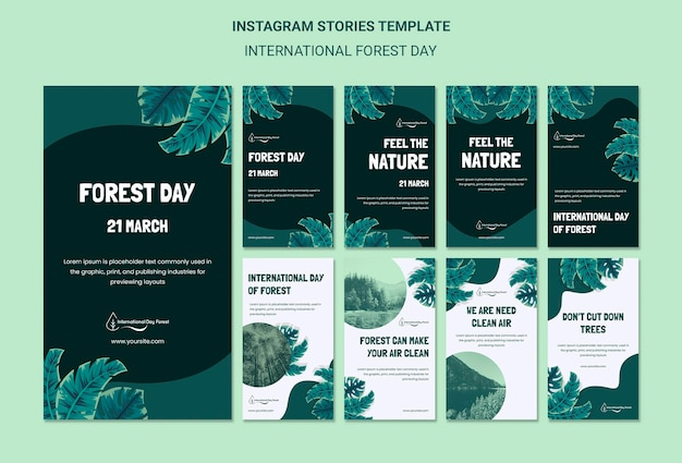 Instagram stories collection for internation forest day celebration