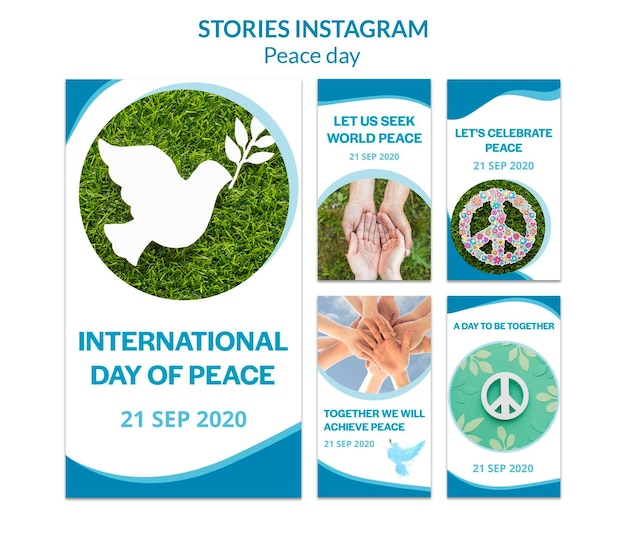 Raccolta di storie di instagram per la giornata internazionale della pace