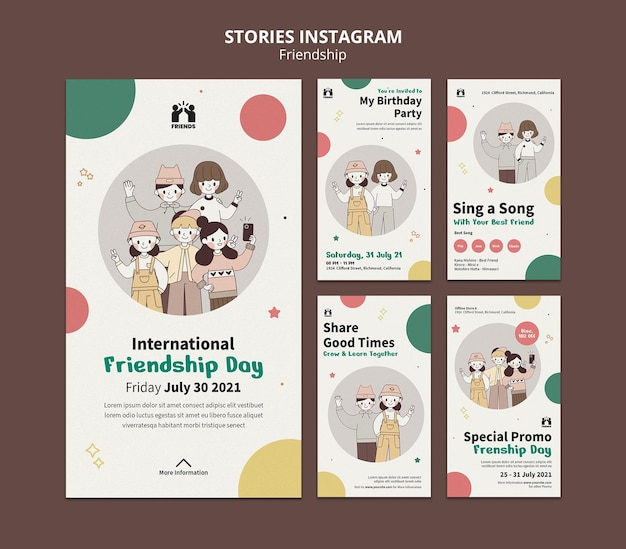 Instagram stories collection for international friendship day with friends