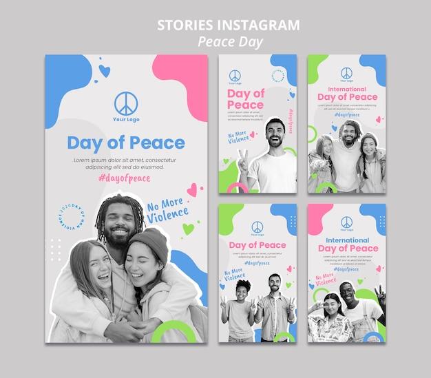 Raccolta di storie di instagram per la celebrazione della giornata internazionale della pace