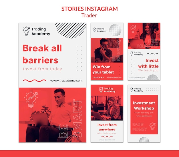 Instagram stories collection for investment trader occupation