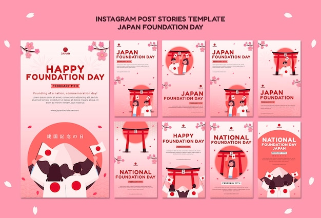 Instagram stories collection for japan foundation day with flowers Premium Psd