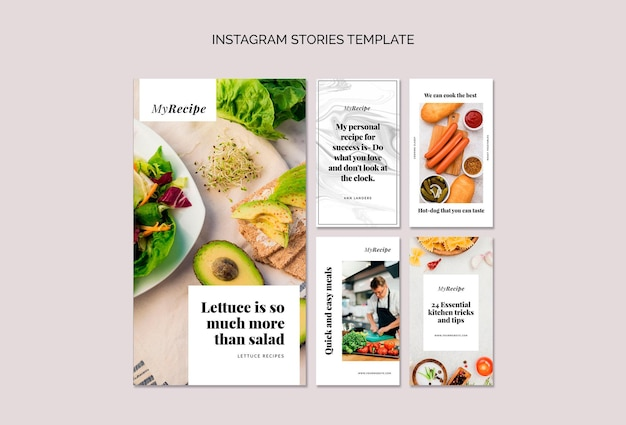 Instagram stories collection for learning to cook recipes