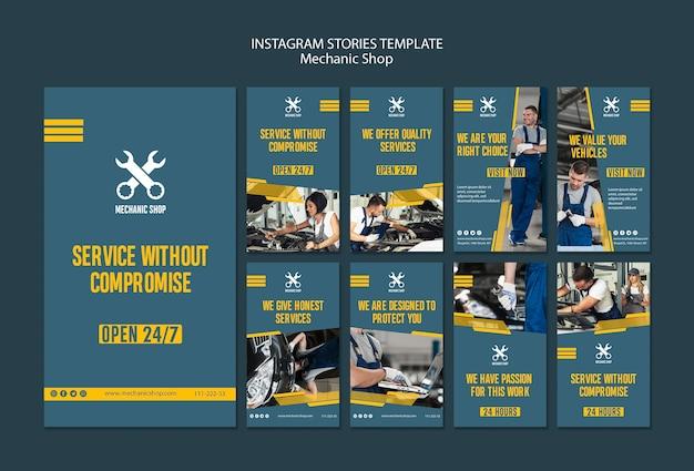 Raccolta di storie su instagram per la professione di meccanico