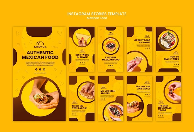 Instagram stories collection for mexican food restaurant