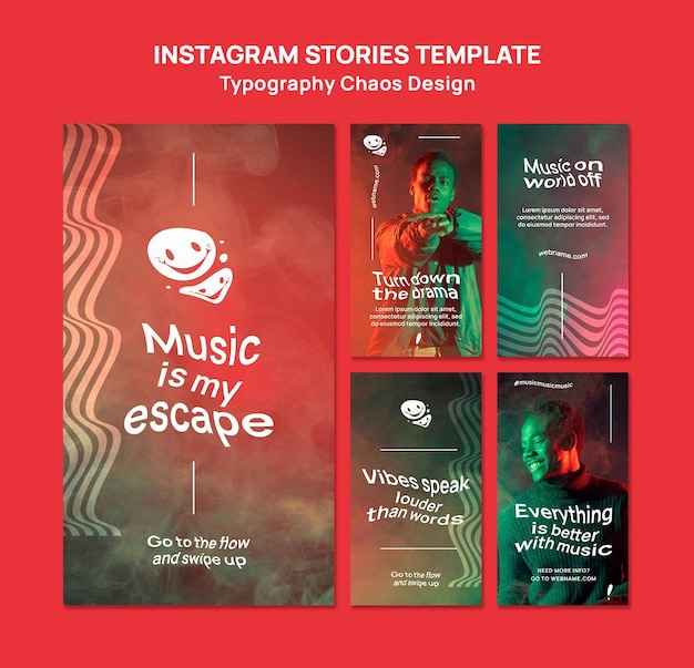 Instagram stories collection for music with man and fog