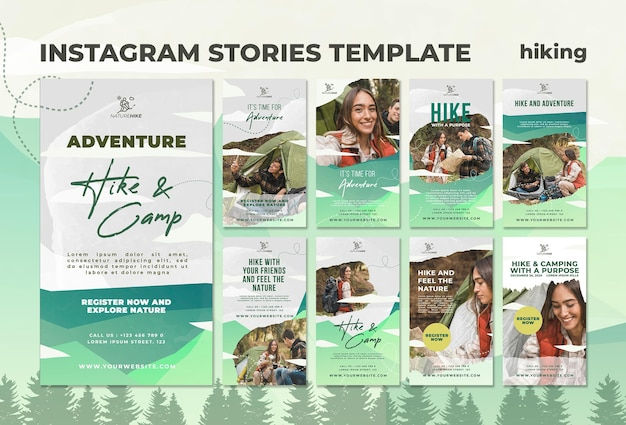 Instagram stories collection for nature hiking