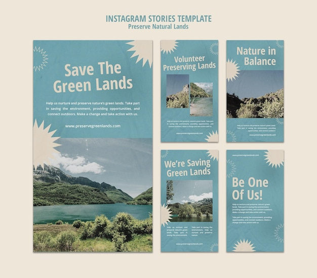 Instagram stories collection for nature preservation with landscape