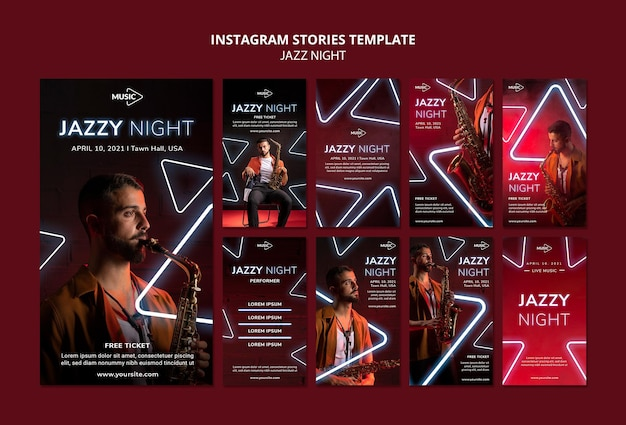 Instagram stories collection for neon jazz night event