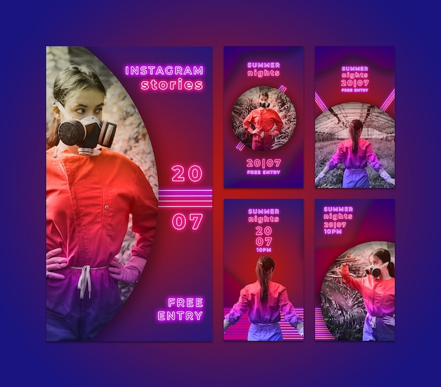 Instagram stories collection in neon style