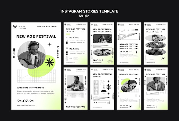 Instagram stories collection for new age music festival