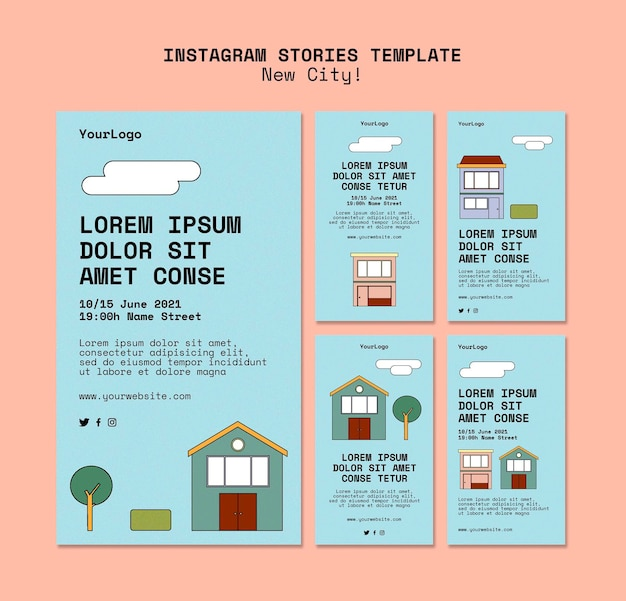 Instagram stories collection for new city with buildings