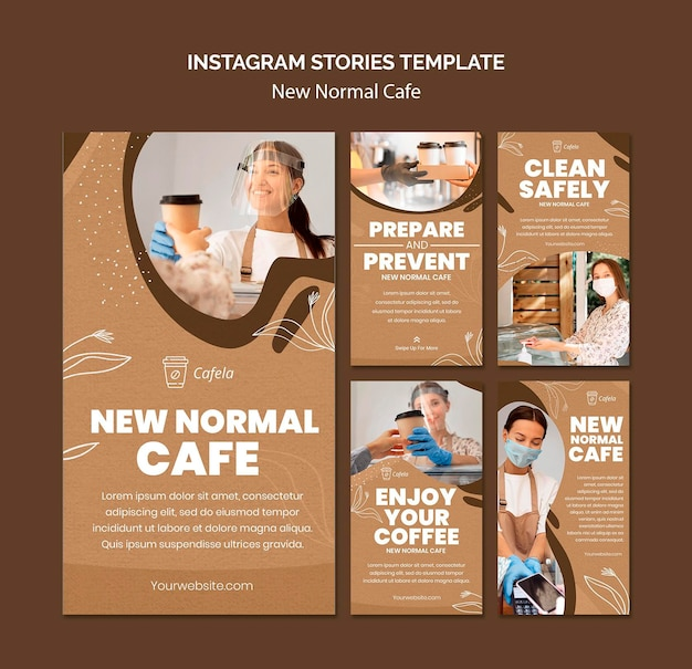 Instagram stories collection for new normal cafe Premium Psd