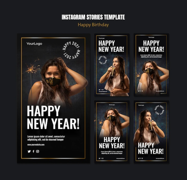 Instagram stories collection for new year celebration