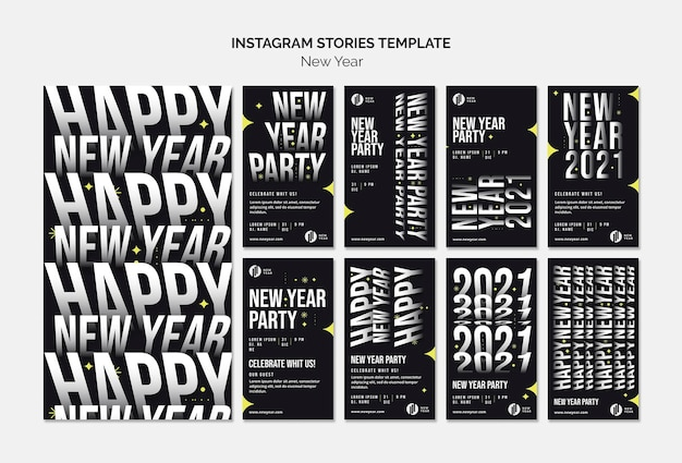 Instagram stories collection for new year party
