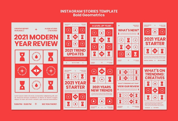 Instagram stories collection for new year review and trends