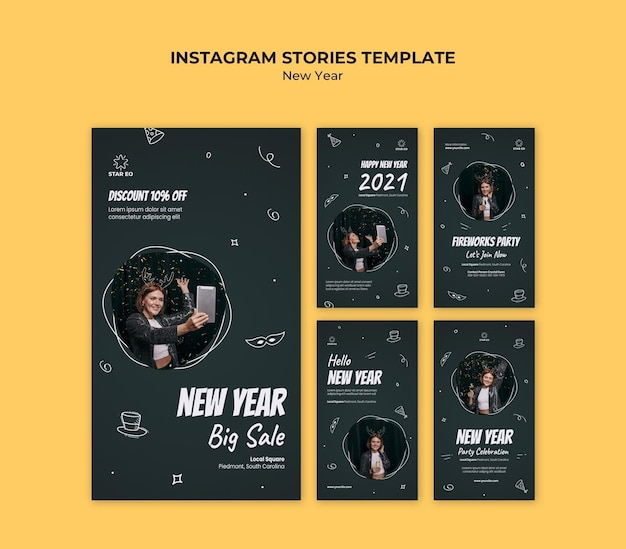 Instagram stories collection for new years party