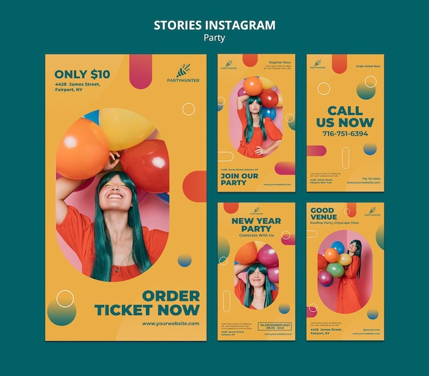 Instagram stories collection for party celebration with woman and balloons