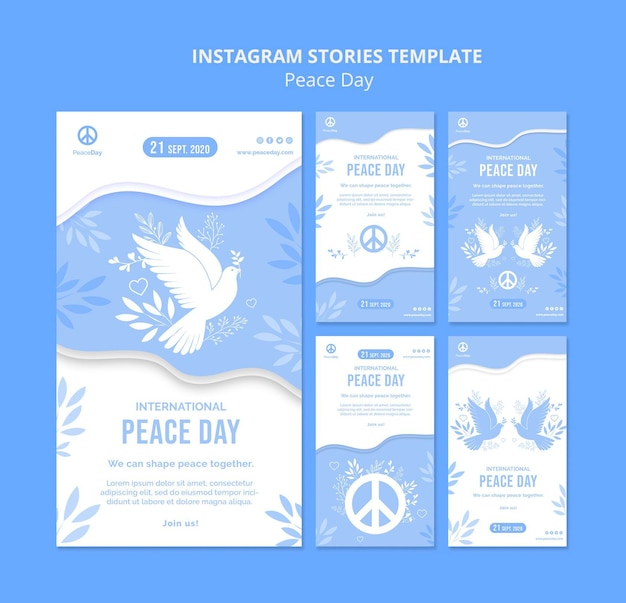 Raccolta di storie di instagram per il giorno della pace