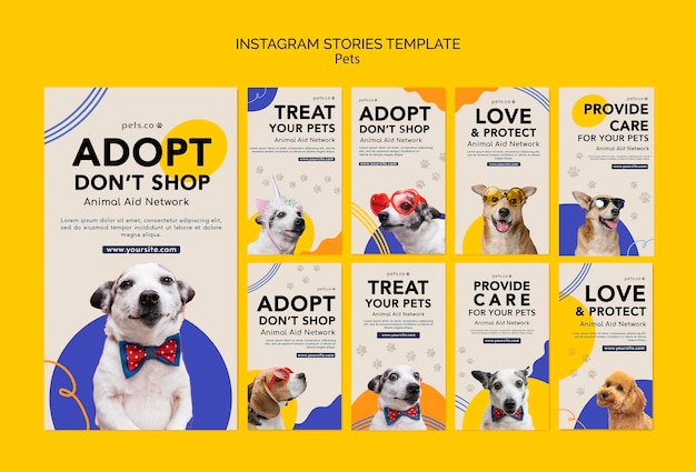 Instagram stories collection for pet adoption with dog Free Psd