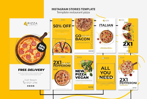 Instagram stories collection for pizza restaurant