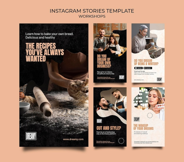 Instagram stories collection for profession workshops and classes